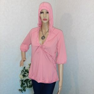 Zella Hooded Blouse Pink Top 3/4 Sleeves size L